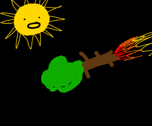Sun is Fascinated by Tree Spaceship