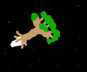 tree rocket in space