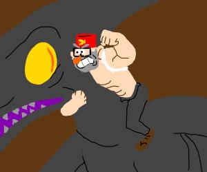 Grunkle Stan wrestles a pterodactyl