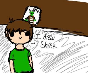 Shrek drawn by an eight year old.