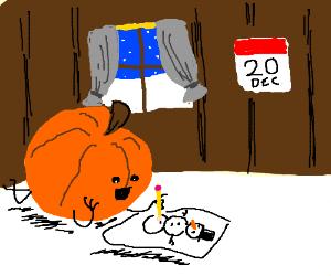 a pumpkin drawing in december