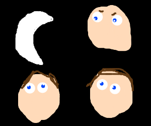 Three people playing with a moon