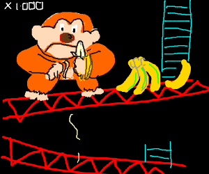 Donkey kong eating bananas