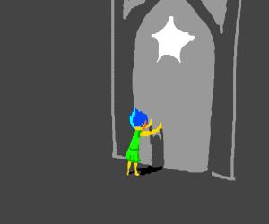Joy (Inside Out) tries to open temple door(SU)