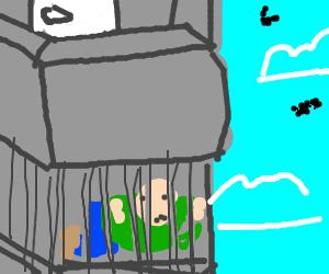Locked under a balcony