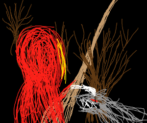 Red Ridinghood pets anger wolf in woods