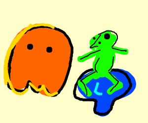 Pac-Man ghosts attack a beyblade frog?