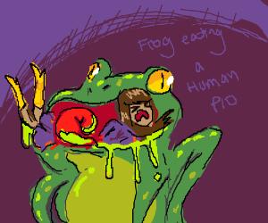 Frog eats a human PIO