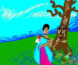 An Indian about to kill a crying tree