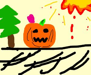 Carved pumpkin having fun at new years