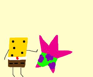 Spongebob is pushing Patrick