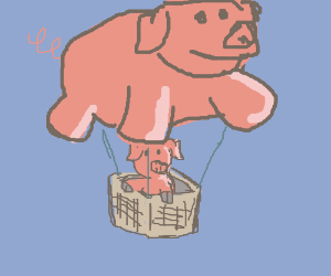 Pig flying on a pig shaped ballon