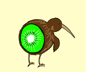 A kiwi (fruit) with wings and beak like a bird