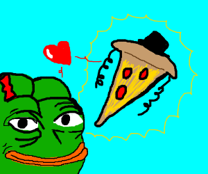 SuperDuperRare Jewish Pizza Loving Pepe w' Bow