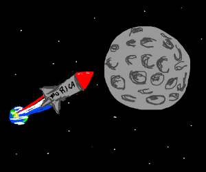American rocket blows up the moon.