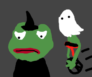 Pepe and Dat Boi go trick or treating together