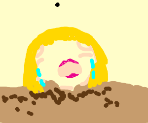 Girls crying head popping out of the ground