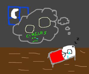 Guy dreams of two circles.Tragic