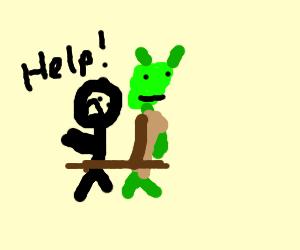 Man tied to Shrek