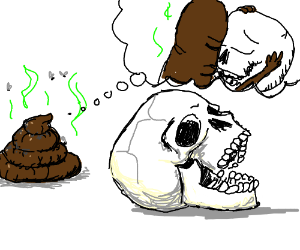 poop wants to kiss a skull