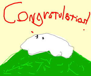 "People on a hill saying ""Congratulations!"""