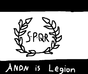 """A panel with """"Anon is legion"""" written on it."""