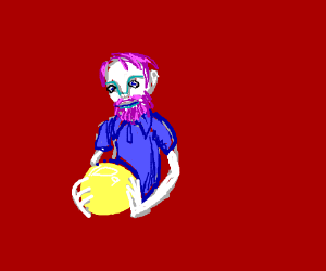 Violet-haired bearded man holding yellow ball