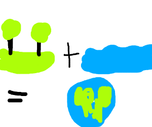 land+water=earth