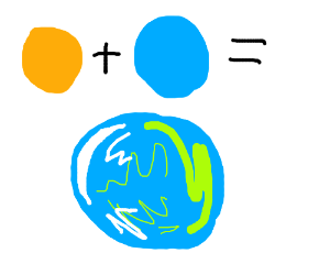 orange ball+blue ball=blue and green ball