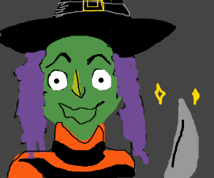 Green witch with a knife.