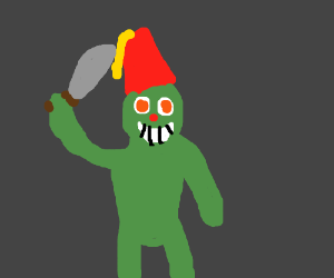 Grinch wearing a fez wielding a machete