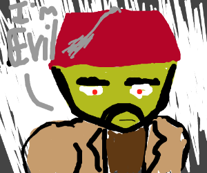 Evil green man in a fez