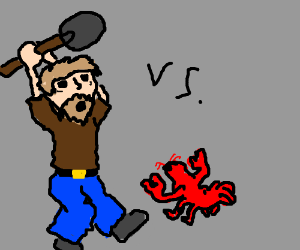 Hobo Tries to Kill Lobster With Shovel