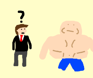 Rich man doesn't know what to do about fat man