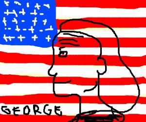 George Washington squatting