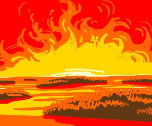 Archipelago under a fiery sky