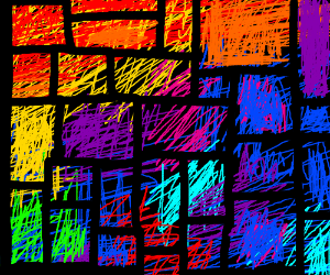 Fireworks through a stained-glass window