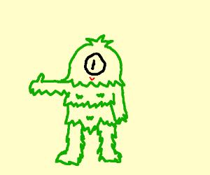 monster covered in green hair