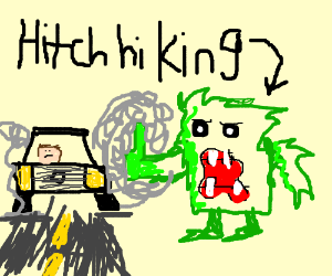 Fuzzy green monster with thumb up hitchhiking
