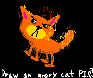 how to draw an angry cat