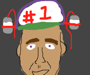 Nicolas Cage wearing a #1 Hat