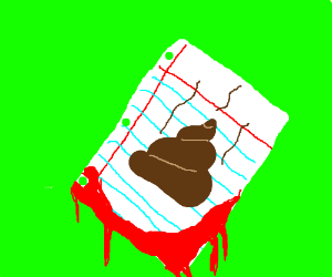 Picture of a poop on bloody paper