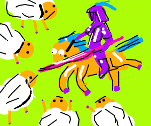 Purple knight and horse fight army of sheep