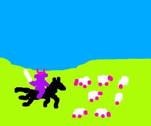 Samurai riding his horse into a flock of sheep