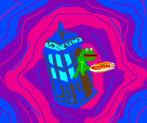 pepe loves pizza while traveling in time