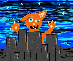 Giant cat attacks City