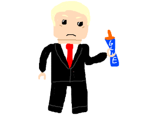 Lego Trump holds tube of glue