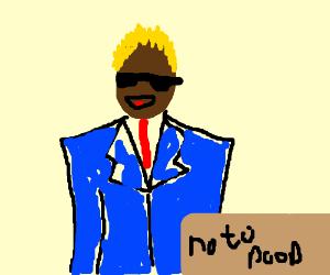 a black man saying no to poop