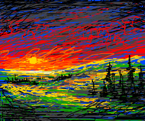 Sun set on the contryside
