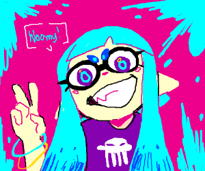 splatoon girl with cyan hair gives two fingers